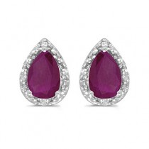 Pear Ruby and Diamond Stud Earrings 14k White Gold (1.50ct)