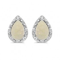 Pear Opal and Diamond Stud Earrings 14k White Gold (1.70ct)