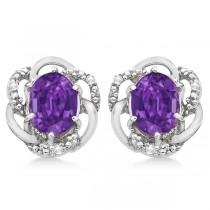 Oval Purple Amethyst & Diamond Earrings in 14K White Gold (3.05ct)