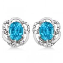 Oval Shaped Blue Topaz & Diamond Earrings in 14K White Gold (3.05ct)