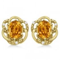 Oval Citrine & Diamond Stud Earrings in 14K Yellow Gold (3.05ct)