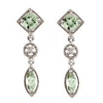Marquise Green Amethyst & Diamond Dangling Earrings 14K White Gold