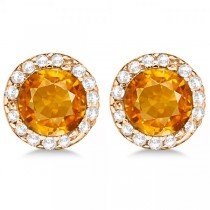 Diamond and Citrine Earrings Halo 14K Rose Gold (1.15ct)