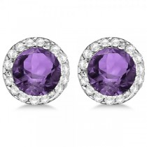Diamond and Amethyst Earrings Halo 14K White Gold (1.15tcw)