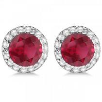 Diamond and Ruby Earrings Halo 14K White Gold (1.15ct)