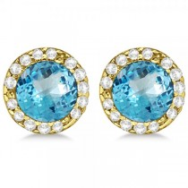 Diamond and Blue Topaz Earrings Halo 14K Yellow Gold (1.15ct)