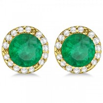 Diamond and Emerald Earrings Halo 14K Yellow Gold (1.15ct)