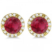 Diamond and Ruby Earrings Halo 14K Yellow Gold (1.15ct)