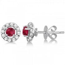 Floating Ruby and Diamond Stud Earrings 14K White Gold (0.96ct)