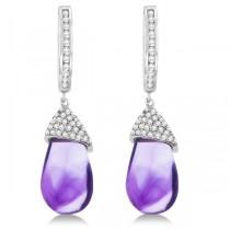 Diamond and Amethyst Drop Earrings Pear Shape 14K White Gold (6.08tcw)