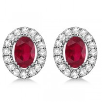Oval Ruby & Diamond Earrings, Halo Style Studs 14k White Gold 1.52ct