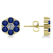 Blue Sapphire & Diamond Cluster Stud Earrings 14k Yellow Gold (2.10ct)