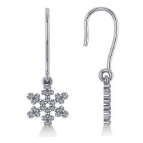 Diamond  Snowflake Loop Earrings 14k White Gold (0.24ct)