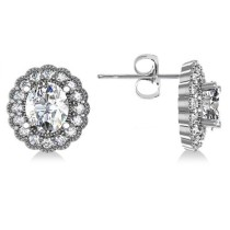 Diamond Floral Oval Earrings 14k White Gold (4.96ct)
