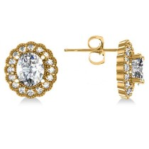 Diamond Floral Oval Earrings 14k Yellow Gold (4.96ct)