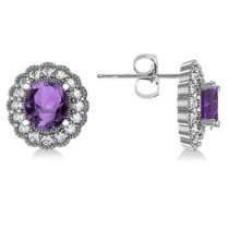 Amethyst & Diamond Floral Oval Earrings 14k White Gold (5.96ct)