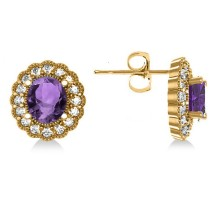 Amethyst & Diamond Floral Oval Earrings 14k Yellow Gold (5.96ct)