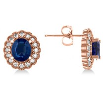 Blue Sapphire & Diamond Floral Oval Earrings 14k Rose Gold (5.96ct)