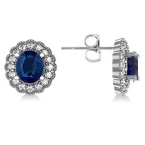 Blue Sapphire & Diamond Floral Oval Earrings 14k White Gold (5.96ct)