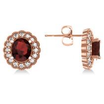 Garnet & Diamond Floral Oval Earrings 14k Rose Gold (5.96ct)