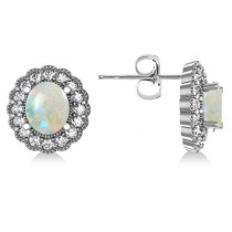 Opal & Diamond Floral Oval Earrings 14k White Gold (5.96ct)