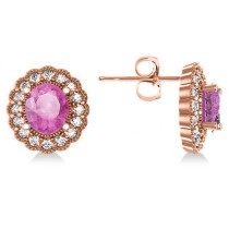 Pink Sapphire & Diamond Floral Oval Earrings 14k Rose Gold (5.96ct)