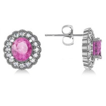Pink Sapphire & Diamond Floral Oval Earrings 14k White Gold (5.96ct)