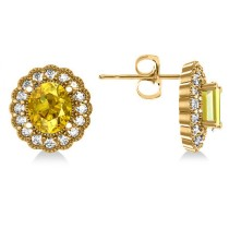 Yellow Sapphire & Diamond Floral Oval Earrings 14k Yellow Gold (5.96ct)