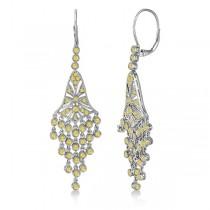 Fancy Yellow Canary Diamond Chandelier Earrings 14k White Gold (2.27ct)