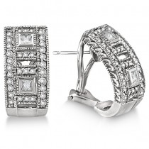 Princess and Round Diamond Huggie Earrings 18K White Gold (1.00ct)