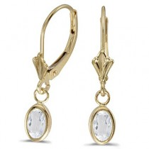 Oval White Topaz Lever-back Drop Earrings 14K Yellow Gold (1.14ct)