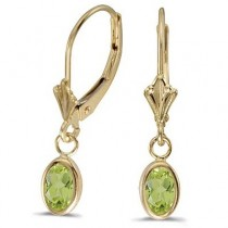 Oval Peridot Lever-back Drop Earrings in 14K Yellow Gold (1.10ct)