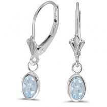 Oval Aquamarine Lever-back Drop Earrings in 14K White Gold (0.80ct)