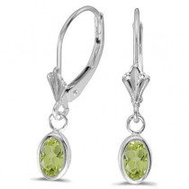 Oval Peridot Lever-back Drop Earrings in 14K White Gold (1.10ct)