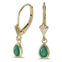 Emerald Dangling Drop Lever-Back Earrings 14K Yellow Gold (0.80ct)