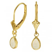 Pear Opal Bezel Drop Earrings in 14K Yellow Gold (0.44ct)