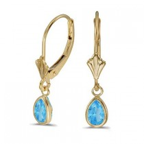 Blue Topaz Dangling Drop Lever-Back Earrings 14K Yellow Gold (1.00ct)