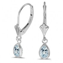 Aquamarine Dangling Drop Lever-Back Earrings 14K White Gold (0.70ct)