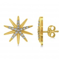 Diamond Accented Starburst Stud Earrings 14k Yellow Gold (0.16ct)