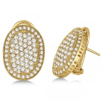 French Clip Pave-Set Diamond Oval Earrings 14k Yellow Gold (2.10ct)