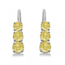 Three-Stone Leverback Yellow Diamond Earrings 14k White Gold (1.00ct)