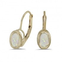 Bezel-Set Oval Opal Lever-Back Earrings 14k Yellow Gold