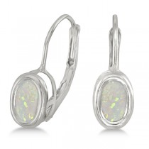 Bezel-Set Oval Opal Lever-Back Earrings 14k White Gold