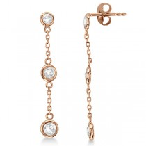 Diamonds by The Yard Bezel-Set Drop Earrings 14k Rose Gold (1.00ct)