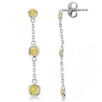 Fancy Yellow Diamond Station Drop Earrings 14k White Gold (0.25ct)