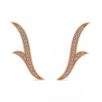 Flower Ear Cuffs Diamond Accented 14k Rose Gold (0.25ct)