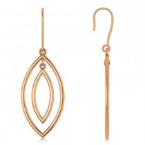 Double Marquise Dangling Earrings Plain Metal 14k Rose Gold