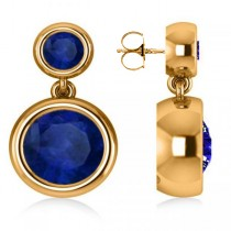 Double Blue Sapphire Gemstone Drop Earrings 14k Yellow Gold (4.50ct)