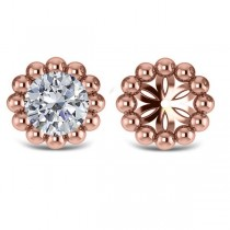 Beaded Round Earring Jackets Plain Metal 14k Rose Gold