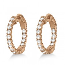 Unique Small Round Diamond Hoop Earrings 14k Rose Gold (1.51ct)